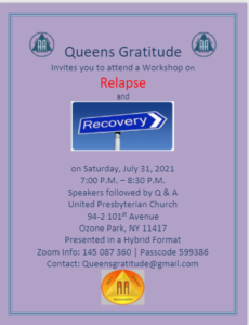 Relapse and Recovery Workshop @ Ozone Park United Presbyterian Church
