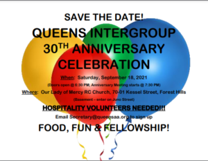 30TH ANNIVERSARY QUEENS INTERGROUP OF ALCOHOLICS ANONYMOUS @ Our Lady of Mercy Roman Catholic Church BASEMENT ENTER ON JUNO ST.