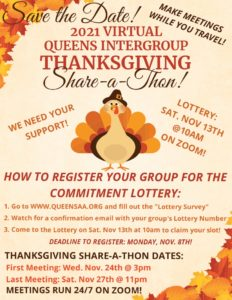 2021 VIRTUAL QUEENS INTERGROUP THANKSGIVING Share-a-Thon! @ ONLINE
